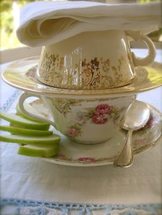 teacup lunch . . . soup in bottom cup, scone under top cup.