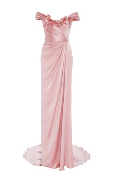 Off The Shoulder Satin Gown by MARCHESA for Preorder on Moda Operandi