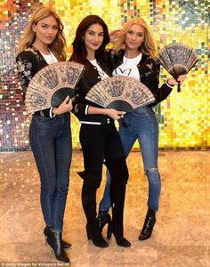 From above: Martha Hunt, 28, Lily Aldridge, 32, and Elsa Hosk , 29, proved their worth as they posed together in Shanghai on Friday