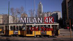 Ultra HD 4K Milan Old Trams Travel Tramways Italy Landmark City Sightseeing UHD Video Stock Footage