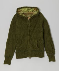 Take a look at this Military Green Wool-Blend Zip-Up Hoodie - Girls on zulily today!