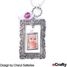 Using just a few supplies from eCrafty.com, Cheryl made these adorable double frame pendants or photo ornaments. A great holiday make-ahead, easy group craft too!