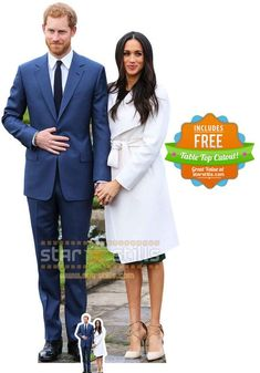 Prince Harry and Meghan Markle Lifesize Cardboard Cutout. Free UK delivery and worldwide shipping.