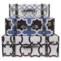 Set+of+3+wood+trunks+with+geometric+details.+  Product:+Small,+medium+and+large+trunkConstruction+Material:+Wood,...