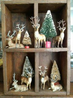 Rustic Deer Vignette with bottle brush trees - (Deer-io Christmas) . in front of farm lane handprinted photograph. Woodland Christmas, Antique Christmas, Noel Christmas, Merry Little Christmas, Primitive Christmas, Country Christmas, Winter Christmas, Christmas Wreaths, Christmas Crafts