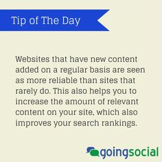 Make sure you add new content to your #socialmedia sites on a regular basis. #contentmarketing