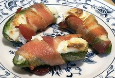 JALAPEÑO POPPERS   8 fresh jalapeños   4 ounces cream cheese, softened   8 slices thin bacon, cut in half crosswise