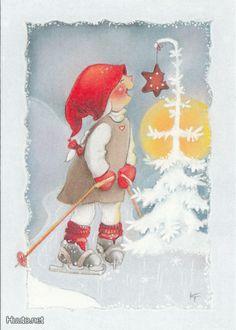 Thank you Kaarina Toivanen Christmas Gnome, Vintage Christmas, Christmas Crafts, Christmas Cartoons, Christmas Clipart, Scandinavian Kids, Christmas Time Is Here, Christmas Illustration, Winter Cards