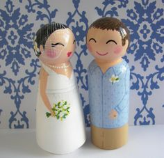 Hand Painted Love Boxes Custom Wedding Cake Topper Peg Dolls Wood by handpaintedloveboxes.etsy.com