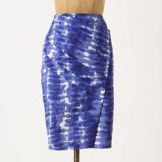 Anthropologie Shibori skirt Ocean washed tie dye from Eva Franco, tucked into asymmetrical folds and tailored into a slim silhouette. Back zip. Cotton spandex. NEVER WORN Anthropologie Skirts Pencil