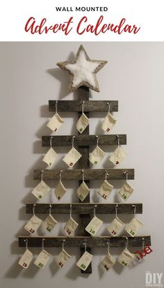 Rustic Advent Calendar. Wall Mounted Advent Calendar perfect for a Rustic Christmas. Makes a great keepsake Christmas Decoration and a fun way to countdown to Christmas. #adventcalendar #christmascountdown #advent #christmas #christmasdecor