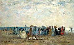 Baigneurs sur la plage de Trouville par Eugène Boudin. Mais ces baigneurs (et baigneuses) préfèrent converser sur la plage, protégés sous leur ombrelle. Leur costume reflètent leur appartenance à la haute société. Seuls une clientèle de bourgeois et d'aristocrates fréquentent à cette époque (en 1869) les stations balnéaires.