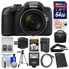 KIT INCLUDES 14 PRODUCTS — All BRAND NEW Items with all Manufacturer-supplied Accessories + Full USA Warranties: [1] Nikon Coolpix B700 4K Wi-Fi Digital Camera + [2] Transcend 64GB SDXC 300x Card + [3] Battery for Nikon EN-EL23 + [4] Charger for Nikon EN-EL23 + [5] PD PD-C25 Case with Rain Cover + [6] Vivitar SF-3000 Slave Flash +
