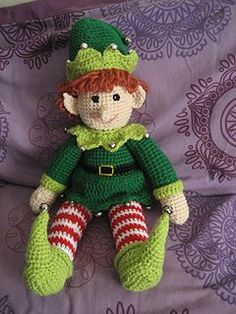 Jingles the Christmas Elf pattern by Sheila Leslie crochet free pattern elf toy hook yarn handmade craft DIY