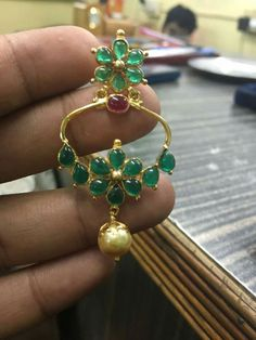 Light Weight Emerald Pendant and Earrings Jewelry Design Earrings, Gold Earrings Designs, Gold Jewellery Design, Ear Jewelry, Pendant Earrings, Women's Earrings, Emerald Pendant, Emerald Jewelry, Gold Jewelry