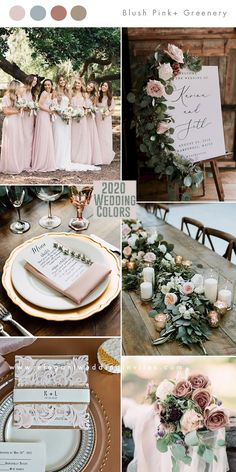 romantic blush pink and greenery with cinnamon rose hint wedding colors wedding decorations Top 10 Wedding Color Trends to Inspire in 2020 Pink Wedding Colors, Blush Pink Weddings, Wedding Color Schemes, Wedding Flowers, August Wedding Colors, Romantic Wedding Themes, Champagne Wedding Colors, Romantic Wedding Colors, Pink Wedding Decorations