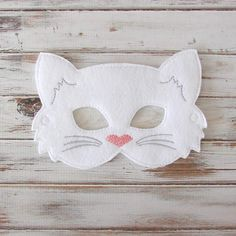 Kids Cat Mask Felt Mask Kitty White Black by AnnsCraftHouse