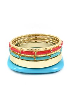 Bobby Bangles in Turquoise and Poppy.