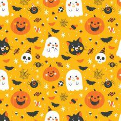 Cute Halloween pattern illustration by Pamela Barbieri Halloween Cartoons, Halloween Prop, Theme Halloween, Halloween Inspo, Halloween Poster, Halloween Banner, Halloween Patterns, Disney Halloween, Halloween Horror