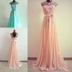 Elegantes Abendkleid Rosa/Grün Spitze
