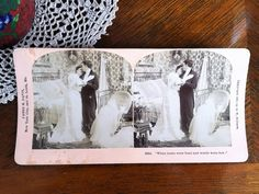 "Antique Stereograph Card ""When looks were fond and words were few"" by B. Vintage Labels, Vintage Postcards, The Brethren, Lazy Sunday, Vintage Advertisements, Craft Supplies, Black And White, History, Antiques"