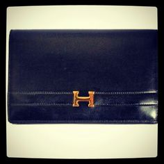 Hermes Annie Black Leather Clutch