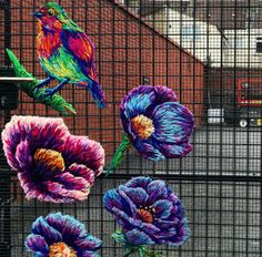I was reminded of this piece I did at earlier this year, and seeing pictures of it surviving so well in that Bristol weather makes me feel all fuzzy. Problem is, now all I want to so is more big street art pieces. Photo by Big Bozo . Embroidery Thread, Cross Stitch Embroidery, Guerilla Knitting, Yarn Images, Street Art, Fence Art, Contemporary Embroidery, Graffiti, Yarn Bombing