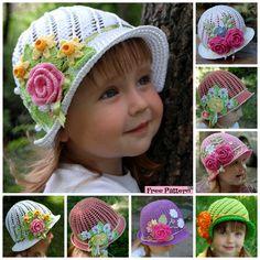 Crochet Flower Sun Hats – Free Pattern #crochethat #freepattern