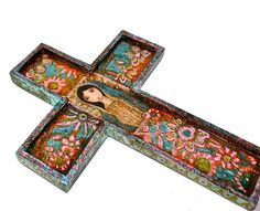 Virgen de Guadalupe Wall Cross Mixed Media Art by by FlorLarios, $55.00
