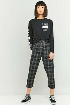 09c5ba66ed5 Urban Renewal Vintage Remnants Dark Grey Checked Trousers on ShopperBoard