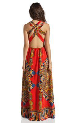 99fb1a78e3 Dress  bohemian print maxi maxi orange pattern pretty open back crossback