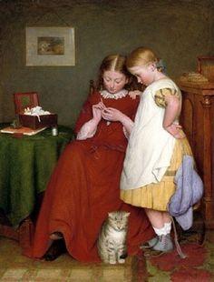 The Crochet Lesson-Edward Thompson Davis (1833 – 1867, English)