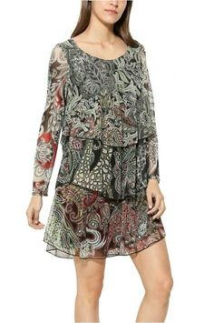 Channel your inner bohemian with this diaphanous dress boasting a vibrant pattern and romantic tiered design. Bohemian, Rompers, Grey, Floral, Casual, Pattern, Prints, Dresses, Design