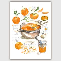 Orange marmalade recipe poster Kitchen print by lucileskitchen