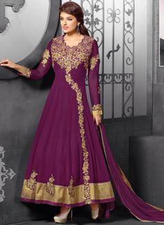 Wholesale Purpal Georgette Wedding Wear Anarkali Collection - Buy Now @ http://www.suratwholesaleshop.com/6148A-Brown-Wedding-Wear-Georgette-Long-Anarkali-Suit?view=catalog