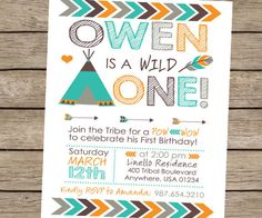 Wild One Invitation, Tribal Birthday Invitation, Pow Wow Birthday Invitation, Tribal Invitation, Boys Teepee Invitation PRINTABLE / PRINTED
