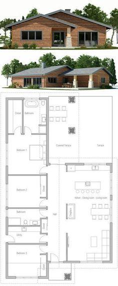 House plans modern bungalow 41 new Ideas Dream House Plans, Modern House Plans, Small House Plans, House Floor Plans, Building Plans, Building A House, House Blueprints, House Entrance, House Layouts