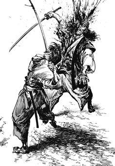 Hiroshi Hirata is a Japanese manga artist best known for the samurai manga series Satsuma Gishiden. Ronin Samurai, Samurai Warrior, Japanese Tattoo Art, Japanese Art, Vagabond Manga, Samurai Artwork, Japanese Warrior, Manga Artist, Traditional Art