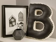 Alphabet Letter Pillow, Crochet Edging & Faux Leather, One Made To Order Letter Pillow, House Design Photos, Accent Pillows, Nursery Decor, Living Room Decor, Alphabet, Etsy Seller, Lettering, Joyful
