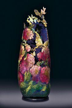 """whitney peckman """"flutterflies and paeonies"""" Mixed Media Sculpture, Sculpture Art, Pumpkin Crafts, Gourd Crafts, Decorative Gourds, Clay Vase, Butterfly Frame, Gourd Art, Mural Art"""
