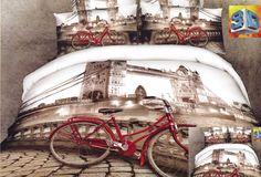 Pościel koloru beżowego z miastem i czerwonym rowerem