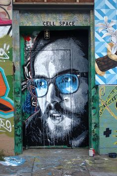 "street art by Nils Westergard (USA) - ""James"" - Mission District, San Francisco, CA Graffiti Art, Murals Street Art, Street Art Graffiti, Urban Street Art, Urban Art, Amazing Street Art, Amazing Art, L'art Du Portrait, Arte Popular"