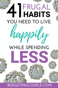 Want to know how to live *happily* on less money? Check out these 41 frugal tips and habits you need to spend less while still enjoying life! These money saving tips are perfect if you're a frugal liv Best Money Saving Tips, Ways To Save Money, Saving Money, Frugal Living Tips, Frugal Tips, Budgeting Finances, Budgeting Tips, Making A Budget, Extra Money