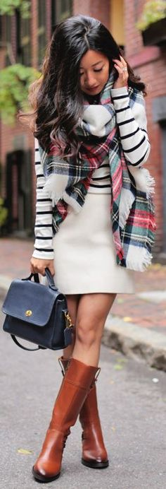 Camel Riding Boots White Skirt Striped Sweater Plaid Statement Scarf Fall Inspo by Extra Petite