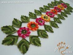Caminho de Mesa em Croche Encantos da Natureza - Aprendendo Crochê, My Crafts and DIY Projects