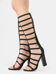 Edgy and sexy, the Gladiator Chunky Stacked Heels feature an open toe.