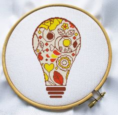 Counted cross stitch pattern, Instant Download, Free shipping, Cross-Stitch PDF, Floral lightbulb