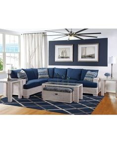 Braxton Culler Bali Sectional Collection In White Finish And Nautical Blue  Fabrics