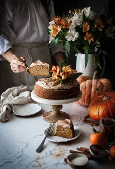 One-bowl Zucchini Pumpkin Cake + Brown Butter Frosting - The Kitchen McCabe Cupcakes, Cupcake Cakes, Pumpkin Recipes, Fall Recipes, Brown Butter Frosting, Cake Photography, Macaron, Let Them Eat Cake, A Table