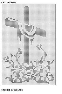 591 Cross of Faith Easter filet crochet doily wall by dasmade